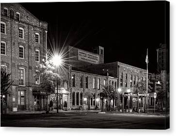 Wilmington Cotton Exchange At Night In Black And White Canvas Print by Greg Mimbs