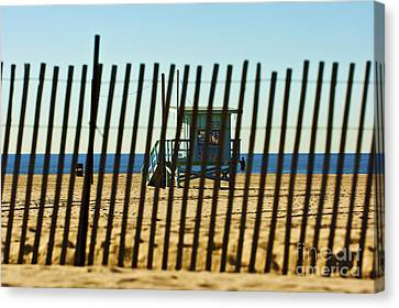 Windbreake On The Beach 3 Canvas Print by Micah May