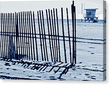 Windbreake On The Beach 4 Canvas Print by Micah May