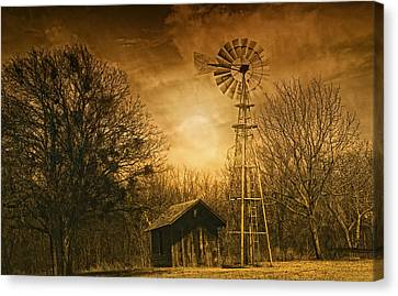 Windmill At Sunset Canvas Print by Iris Greenwell