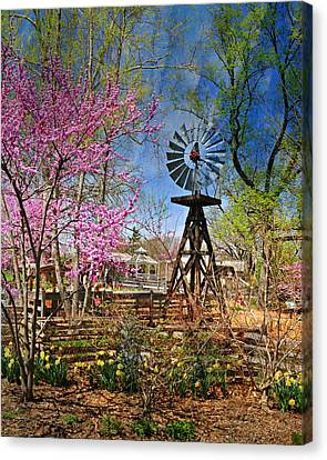 Windmill At The Garden Canvas Print by Marty Koch