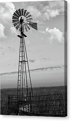 Windmill In Monochrome Canvas Print by Tony Grider