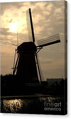 Windmill In Silhouette Canvas Print by Andy Smy