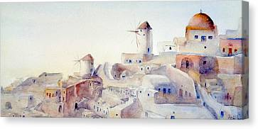 Windmills Oia Canvas Print by Apollo Koliousis
