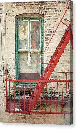 Window And Red Fire Escape Canvas Print by Gary Heller