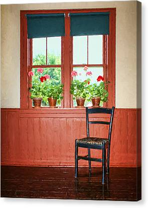 Window - Chair - Geraniums Canvas Print by Nikolyn McDonald