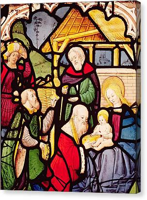 Window Depicting The Adoration Of The Magi Canvas Print by French School