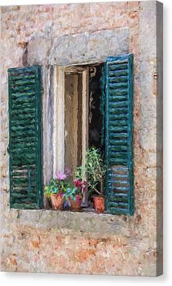Window Of Cortona Canvas Print by David Letts