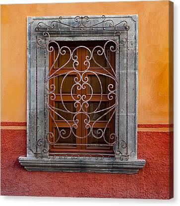 Window On Orange Wall San Miguel De Allende Canvas Print by Carol Leigh