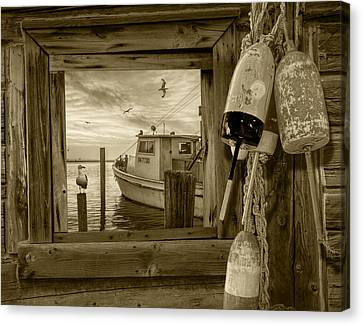 Window View Of The Harbor At Morning In Sepia Canvas Print by Randall Nyhof