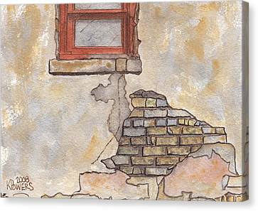 Window With Crumbling Plaster Canvas Print by Ken Powers