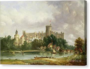 Windsor Castle - From The Thames Canvas Print by Alfred Vickers