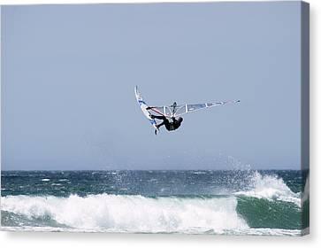Windsurfer Jumping Waves At Jalama Canvas Print by Rich Reid
