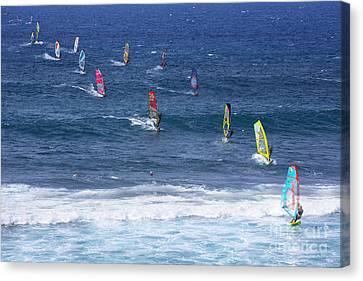 Windsurfing In Maui Hawaii Canvas Print by Diane Diederich