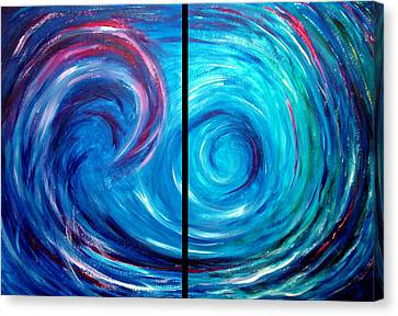 Windswept Blue Wave And Whirlpool 2 Canvas Print by Nancy Mueller