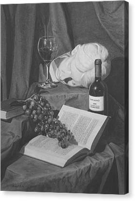 Wine And A Book Canvas Print by Michael Malta