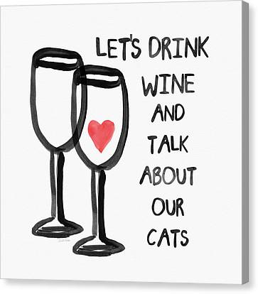Wine And Cats- Art By Linda Woods Canvas Print by Linda Woods