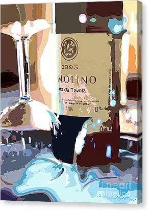 Wine And Two Glasses Canvas Print by David Lloyd Glover