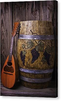 Wine Barrel With Mandolin Canvas Print by Garry Gay