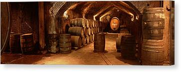 Wine Barrels In A Cellar, Buena Vista Canvas Print by Panoramic Images