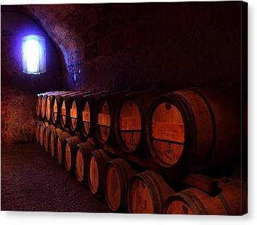 Wine Barrels In Napa Canvas Print by Brian M Lumley