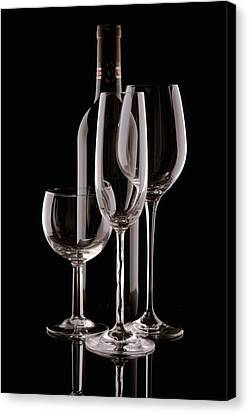 Wine Bottle And Wineglasses Silhouette Canvas Print by Tom Mc Nemar