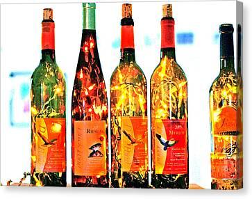 Wine Bottle Lights Canvas Print by Margaret Hood