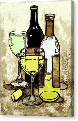 Wine Bottles And Glasses Canvas Print by Peggy Wilson