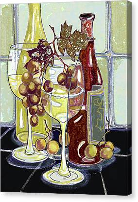 Wine Bottles Grapes And Glasses Canvas Print by Peggy Wilson