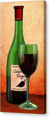 Canvas Print featuring the painting Wine Glass With Bottle by Terry Mulligan