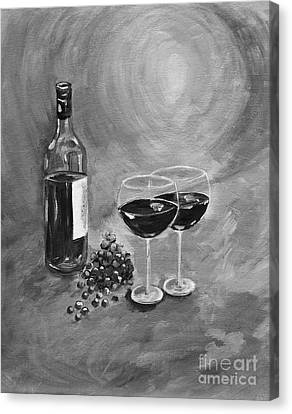 Wine On My Canvas - Black And White - Wine For Two Canvas Print by Jan Dappen