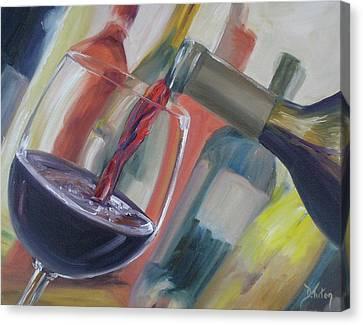 Wine Pour Canvas Print by Donna Tuten