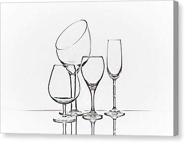 Wineglass Graphic Canvas Print by Tom Mc Nemar