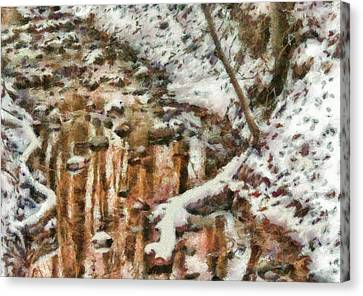 Winter - Natures Harmony Painted Canvas Print by Mike Savad