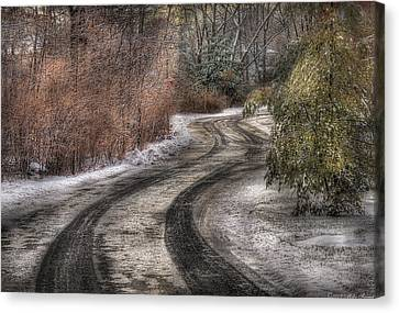 Winter - Road - The Hidden Road Canvas Print by Mike Savad