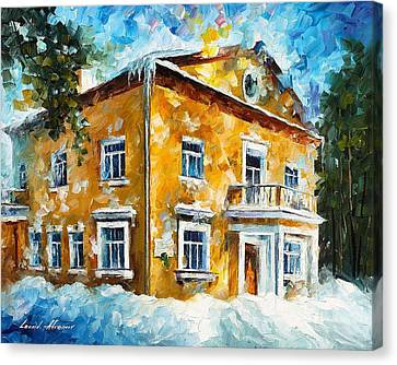 Winter At Home - Palette Knife Oil Painting On Canvas By Leonid Afremov Canvas Print by Leonid Afremov