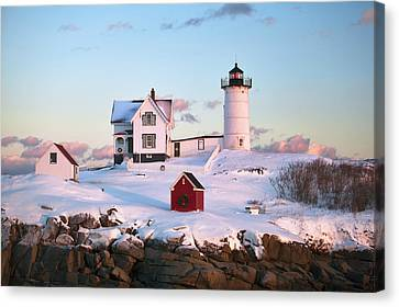 Winter At Nubble Canvas Print by Eric Gendron
