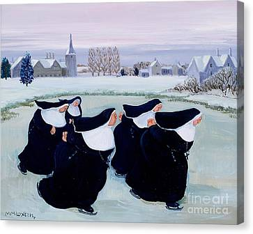 Winter At The Convent Canvas Print by Margaret Loxton