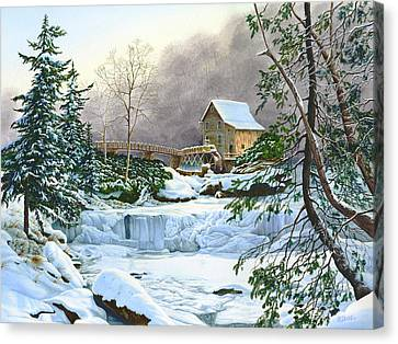 Winter At The Mill Glade Creek Grist Mill West Virginia Canvas Print by Richard Devine