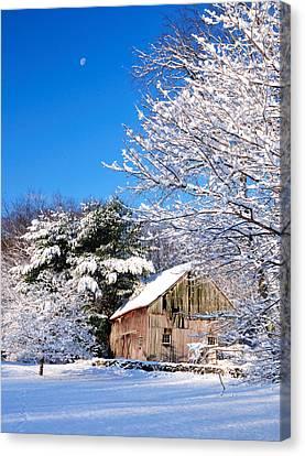 Winter Barn Scene-warren Ct Canvas Print by Thomas Schoeller