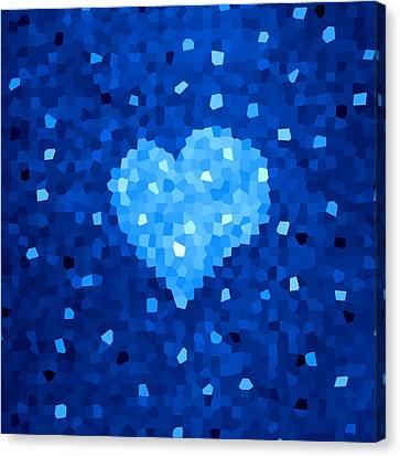 Winter Blue Crystal Heart Canvas Print by Boriana Giormova