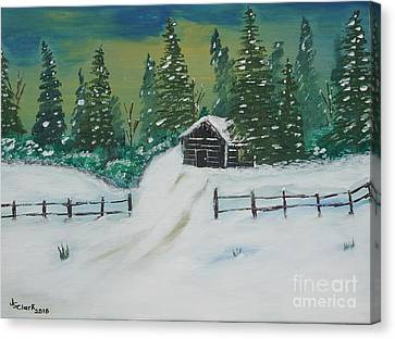 Winter Cabin Canvas Print by Jimmy Clark