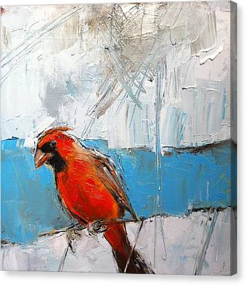 Winter Cardinal Canvas Print by Claire Kayser