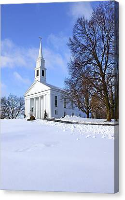 Winter Church Canvas Print by Evelina Kremsdorf