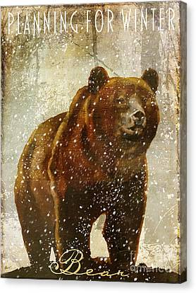 Winter Game Bear Canvas Print by Mindy Sommers