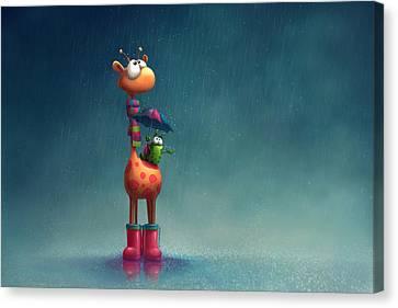 Winter Giraffe Canvas Print by Tooshtoosh