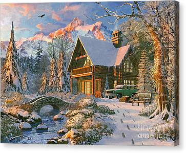 Winter Holiday Cabin Canvas Print by Dominic Davison