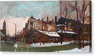 Winter In Buffalo Canvas Print by Ylli Haruni