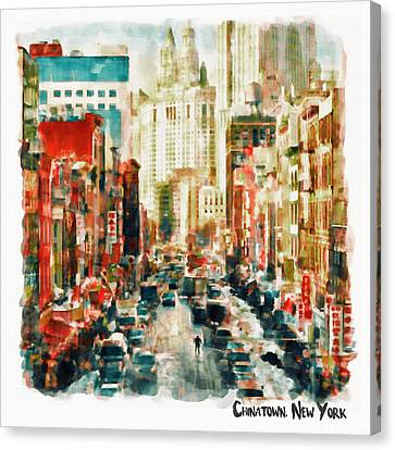 Winter In Chinatown - New York Canvas Print by Marian Voicu
