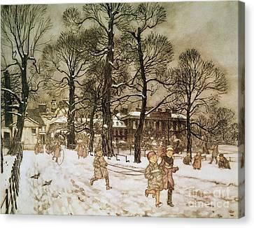 Winter In Kensington Gardens Canvas Print by Arthur Rackham